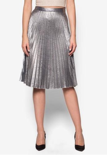 金屬感褶飾及膝短裙,esprit tw 服飾, 服飾