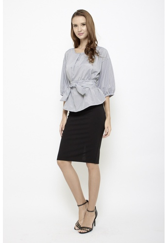 Sophialuv black Keep it Together Blouse in Black Stripes B7A13AABA762E5GS_1
