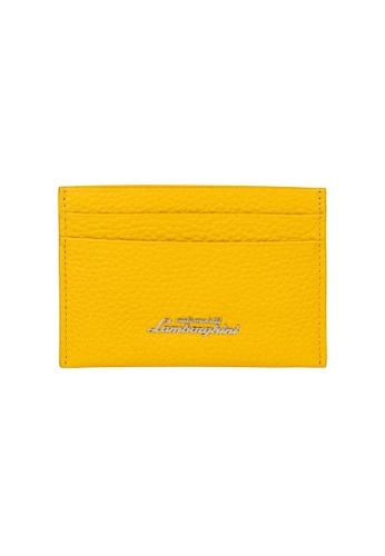 LAMBORGHINI yellow Automobili Lamborghini® Script Yellow Calf Leather Wallet and Credit Cards holder 4248FAC49CD0B3GS_1