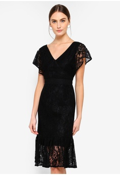 3957dfbb1d1e FORCAST black Valerie V-Neck Lace Dress E08FBAA267D98DGS 1