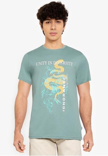 !Solid green Printed T-Shirt F6930AA3D0B9E6GS_1