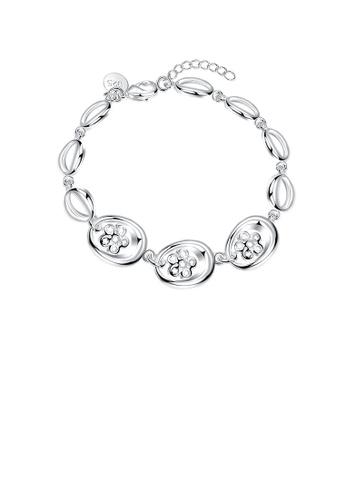 Glamorousky silver Simple and Elegant Cutout Flower Bracelet 10818AC0D1963BGS_1