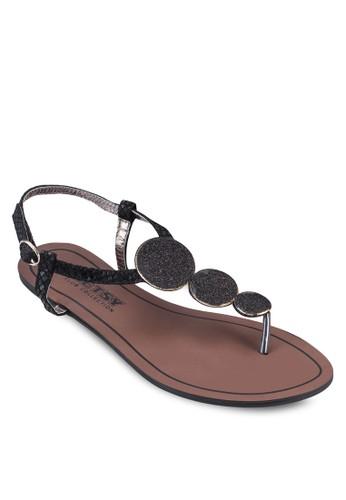亮zalora 折扣碼飾繞踝平底涼鞋, 女鞋, 鞋