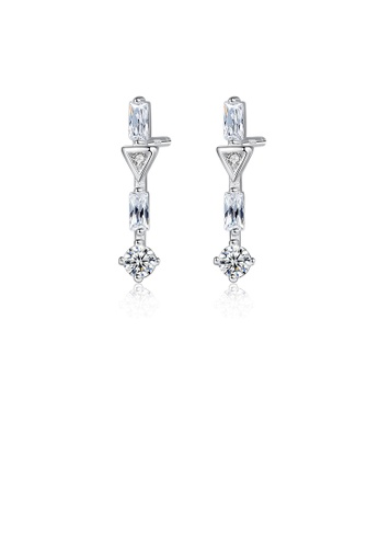 Glamorousky white 925 Sterling Silver Simple and Elegant Geometric Stud Earrings with Cubic Zirconia 74DF8AC27A590EGS_1