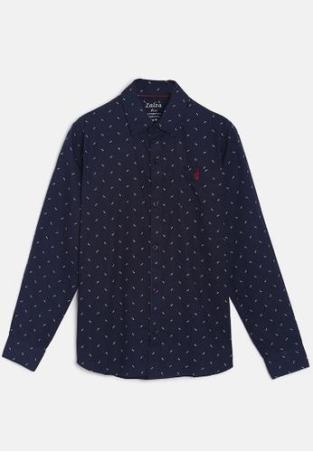 ZALZA navy Rock Rose 100% Organic Cotton Woven Boys Long Sleeve Shirt - Navy 06CBCKA0D2EAA8GS_1