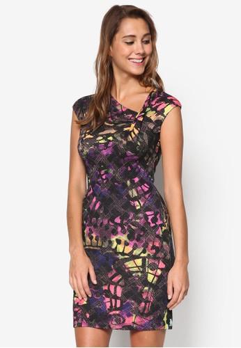 Weina 不對稱領口印花連身裙, 服esprit手錶專櫃飾, 洋裝