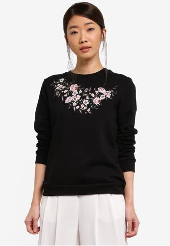 Dorothy Perkins black Petite Black Embroidered Sweatshirt 0D07CAA82BD0AFGS_1