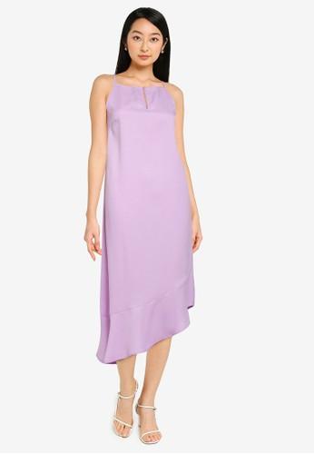 ZALORA BASICS purple Asymmetric Hem Front Slit Midi Dress 3A4E7AA65BC045GS_1