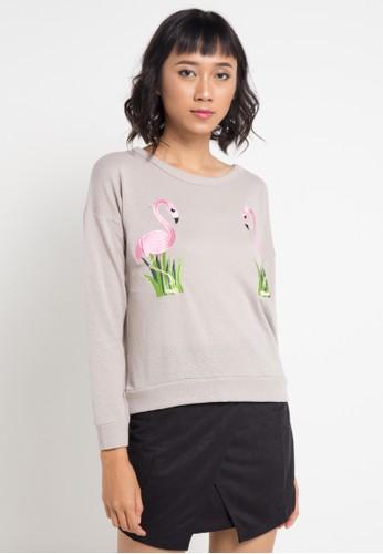 Lavabra grey Flamingo Embroidered Crop Knit Top LA387AA0VMPTID_1