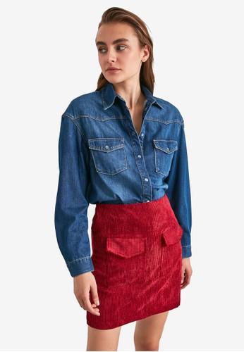 Trendyol red Pocket Detail Corduroy Skirt 56B76AA5A9268CGS_1