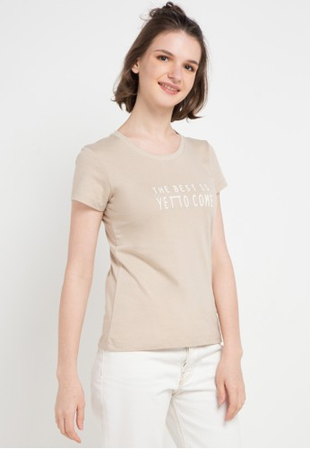 Giordano beige Message T-Shirt BEB46AA2338DF4GS_1