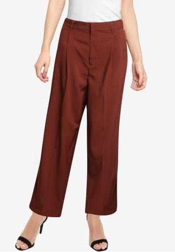 LOWRYS FARM brown Pleated Straight Cut Pants AFB7BAA5F79AE2GS_1