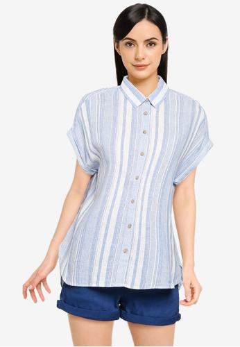 Springfield blue Organic Cotton Linen Shirt BDAF8AA9762E00GS_1