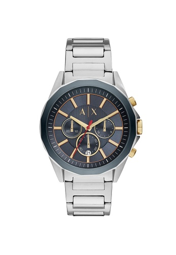 Armani Exchange blue and silver Drexler Silver Stainless Steel Watch AX2614 68034AC5666083GS_1