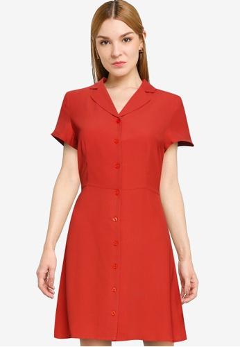 ZALORA WORK orange Revere Collar Button Through Shirt Dress 4E1F5AA8D84237GS_1