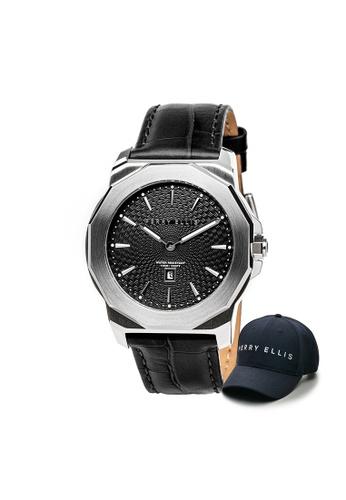 Perry Ellis black Perry Ellis Decagon Unisex 42mm Quartz Watch 08002-01 with Perry Ellis Cap 5C3A2ACC7C434FGS_1