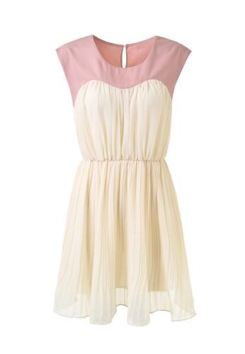 hk-ehunter white and pink Stitching Charming Mini Dress 1CA6CAA00A8782GS_1