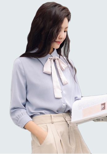 Shopsfashion blue Tie a Bow Blouse in Greyish Blue SH656AA0GHM5SG_1