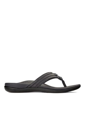 Vionic black Tide Aloe Toe Post Sandal 8A6BESH2013FFDGS_1