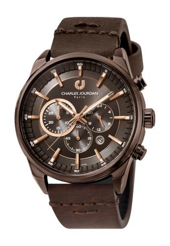 Charles Jourdan brown Charles Jourdan Men CJ1043-1742C Brown Genuine Leather Watch 0863AAC64606E3GS_1