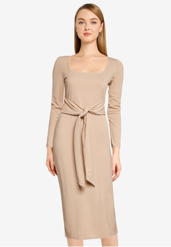 Miss Selfridge beige Camel Rib Long Sleeved Midi Dress 6E4A2AA19678B7GS_1