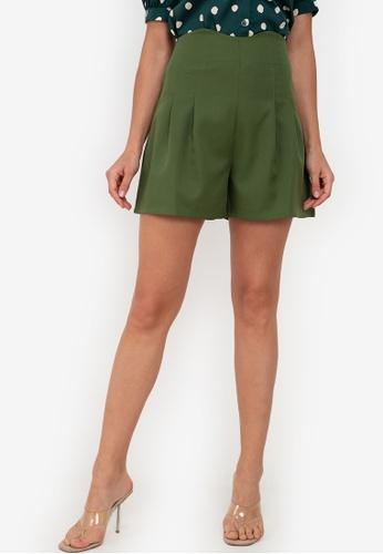 ZALORA WORK green High Waist Darted Shorts D1D9CAA1FCF5C0GS_1
