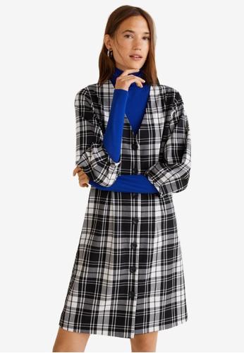 Mango black Pleated Waist Checkered Dress B5CFEAACF03A8BGS_1