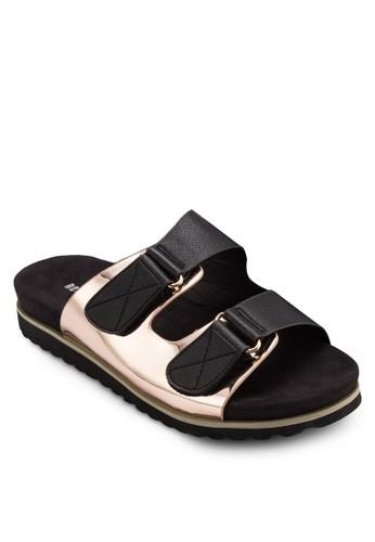 撞esprit旗艦店色扣環寬帶涼鞋, 女鞋, 鞋
