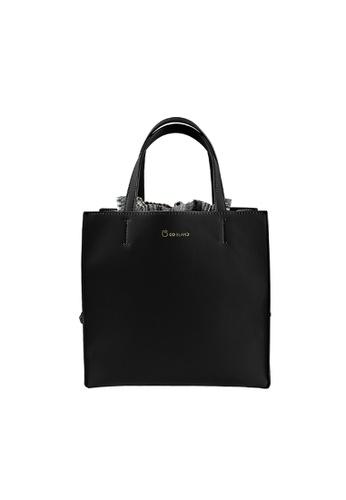 CO BLANC black CO BLANC - Drawstring Detail Square Top Handle Bag DB022AC14E8F6FGS_1