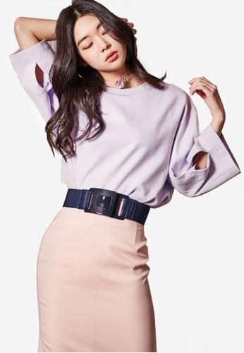 NAIN purple 3/4 Sleeve Top With Cut Out Detail 5E721AAE0DA42BGS_1