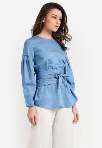 Zalia blue Puff Sleeve Wrap Top 5C565AA98E0F79GS_1