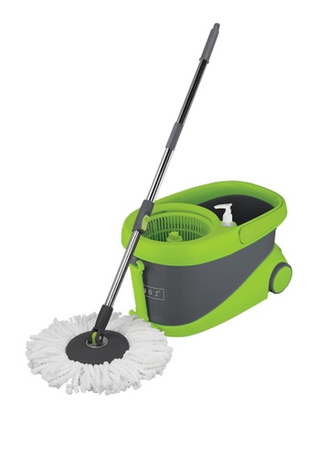 Scrubz green Heavy Duty Cleaning Essentials Easy Grip Premium Microfiber 360á´¼ Stainless Steel Spin Mop with Bucket on Wheels, Soap Dispenser 6BE63HLEDC5114GS_1