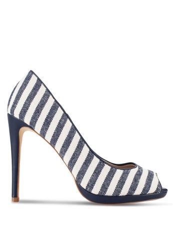 Nose blue Linen Peep Toe Heels NO327SH72SKDMY_1
