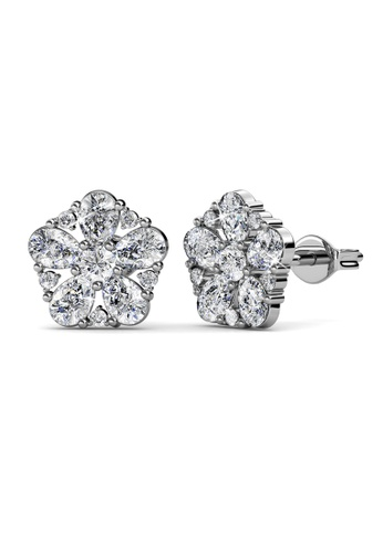 Her Jewellery silver Marylis Bloom Earrings - Licensed Genuine Crystals from Swarovski® HE581AC0RVG6MY_1