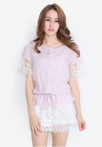 YOCO pink Embroidered Organza Blouse YO696AA0S1DFMY_1