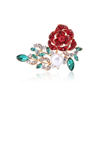 Glamorousky red Fashion and Elegant Plated Gold Flower Imitation Pearl Brooch with Red Cubic Zirconia 4FC3AAC9B53353GS_1