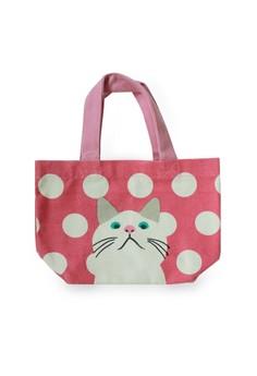 Cute Cat On Polka Dot Lunch Tote Bag