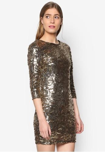 Paris 漩渦兩片七分袖連身裙esprit taiwan, 服飾, 服飾
