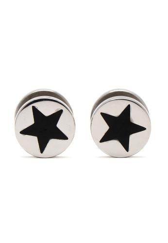 Silverworks black Polished Fake Tunnel Earrings With Black Enamel Star 20FFFACA6B5E44GS_1