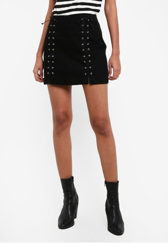 TOPSHOP black MOTO Front Lace A-Line Skirt TO412AA0RY3PMY_1