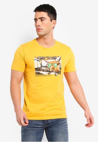 Jack & Jones 黃色 印花T恤 98FB2AAA4383B6GS_1