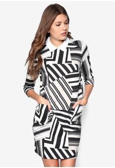 Petite Geometric Printed Collar Dress