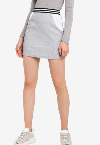 Something Borrowed 灰色 撞色針織緊身短裙 94D2DAABA67ECCGS_1