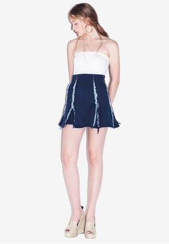 MAG2esprit 台中AN 抽鬚高腰短裙, 服飾, 裙子