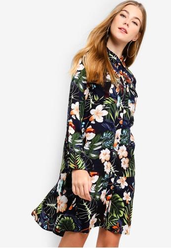 Something Borrowed navy Fluted Hem Shirt Dress F025BAAA0925BFGS_1