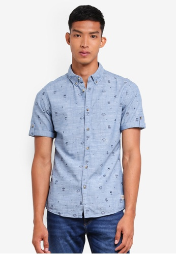 ESPRIT blue Woven Short Sleeve Shirt 4354FAA7DEB535GS_1