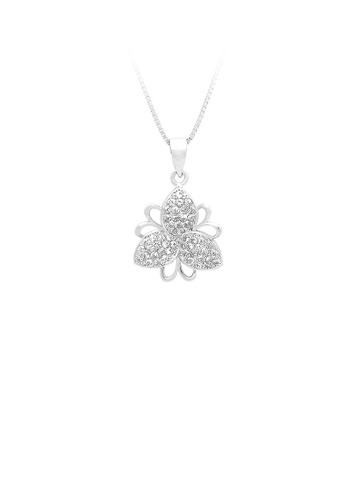 Glamorousky silver 925 Sterling Silver Flower Pendant with White Cubic Zircon and Necklace 1A976AC5A3BA44GS_1
