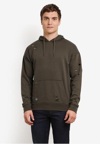 Burton Menswear London green Threadbare Khaki Over-Head Distressed Hoodie BU964AA0S2B5MY_1