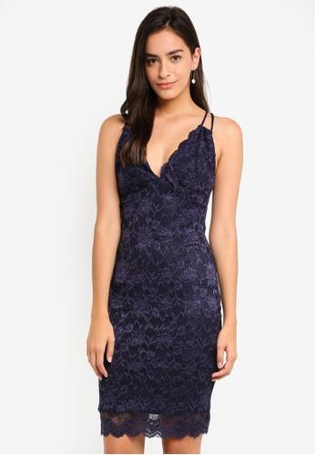 Goddiva navy Plunge Lace Mini Dress With Lattice Straps C34FCAA7736C01GS_1