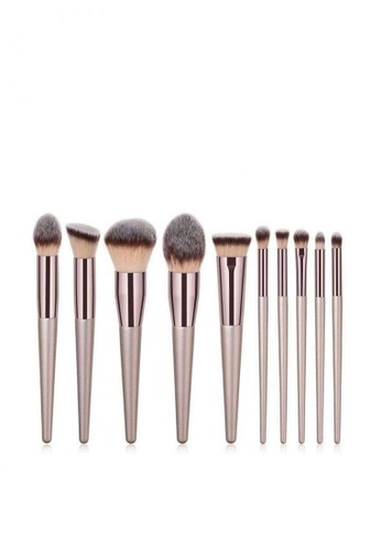 10 Pieces Makeup Brush Set- Champagne